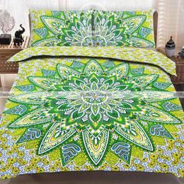 P282: Yellow Green Floral Hippie Mandala Cotton Bedspread Bohemian.