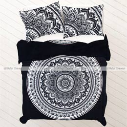 kp58 black and white floral ombre mandala king size bedding and d
