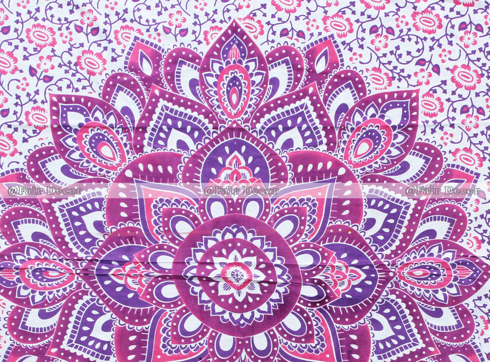 Twin Size Pink Purple Flower Ombre Mandala Bedding Duvet Cover
