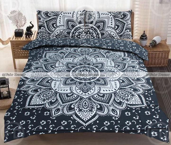 black silver boho bedding indian mandala bedspread king size duvet cover. Black Bedroom Furniture Sets. Home Design Ideas
