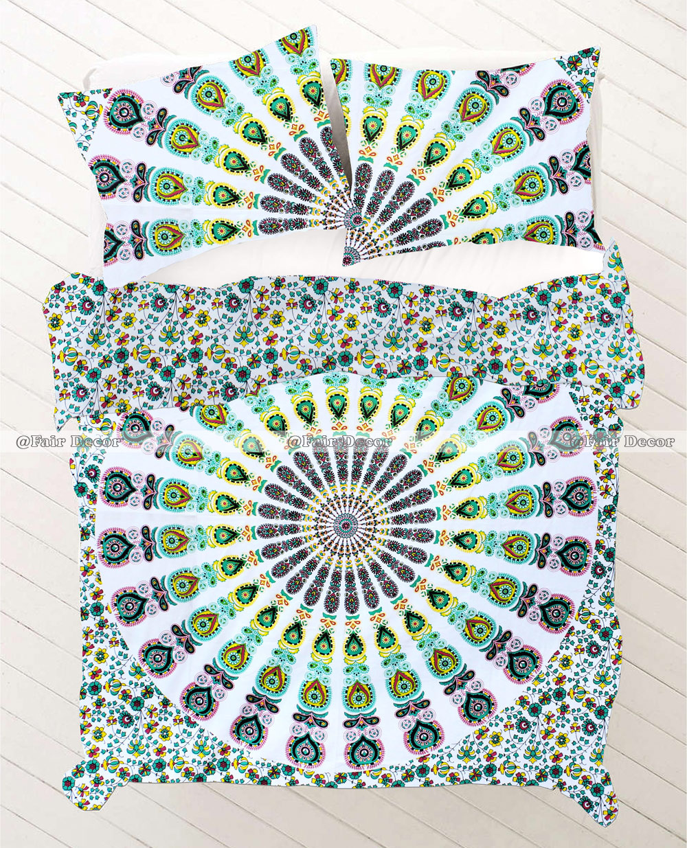 Peacock Feather Ombre Mandala Bedding Doona Sets Quilt Cover