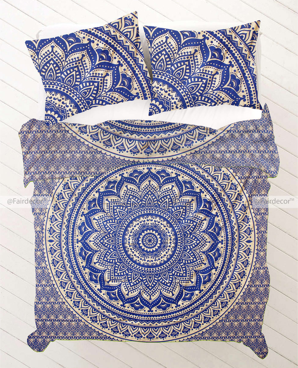 Ombre Mandala Bed Sheet And Duvet Cover Dark Blue And Gold