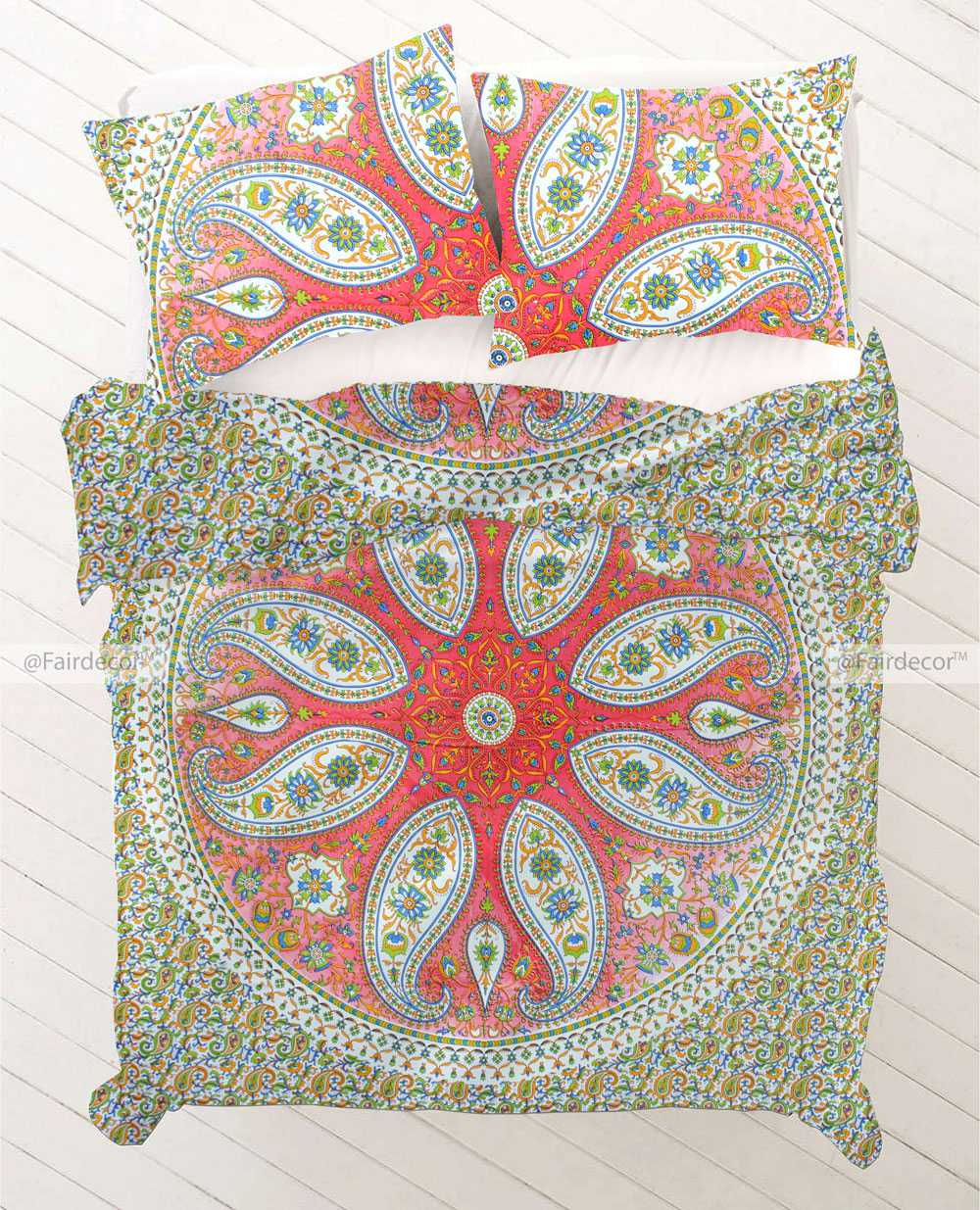 Red Pink Paisley Bohemian Bedding Duvet Cover