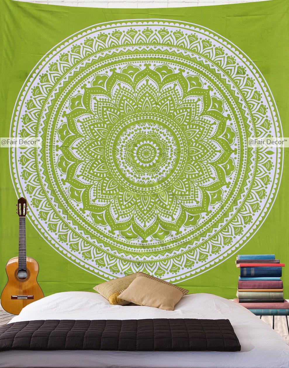 Parrot Green Tapestry - Parrot Green Mandala Beach Tapestry