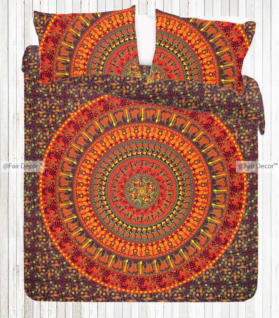 Orange Yellow Double Size Mandala Duvet Cover Bed Set