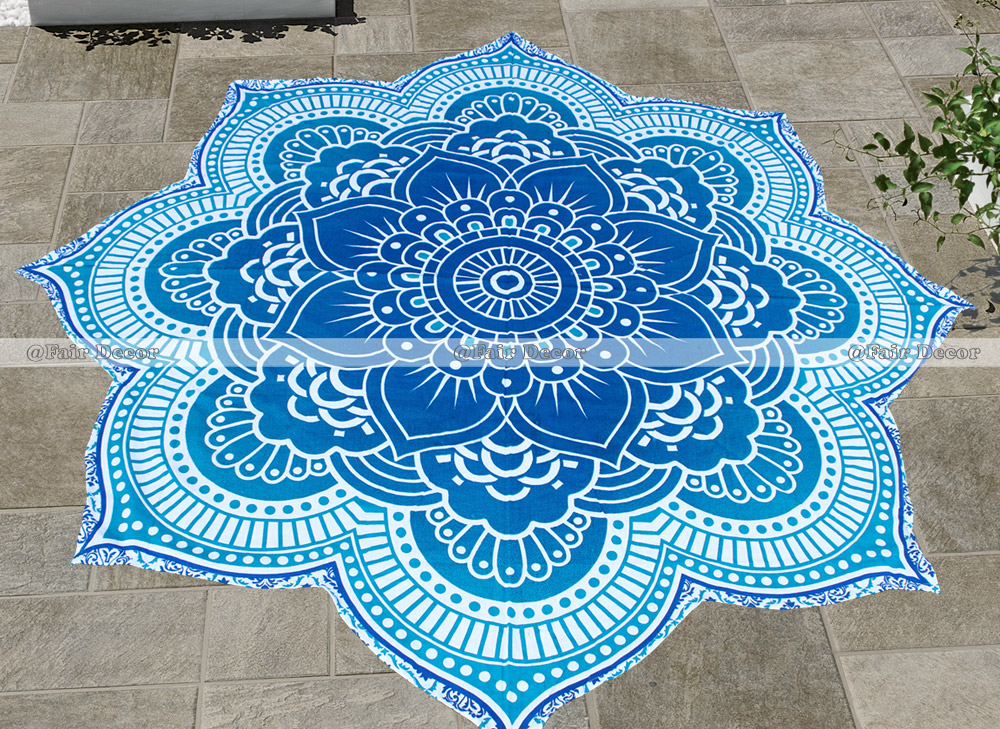 """72/"""" Inches Roundies Elephant Peacock And Flower Mandala Ombre Round Tapestry Mat"""
