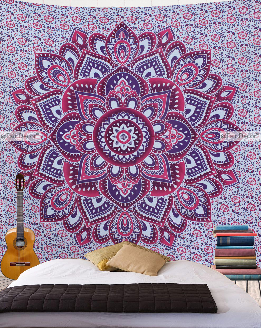 Pink purple floral tapestry bohemian wall hanging - Purple ombre wall ...