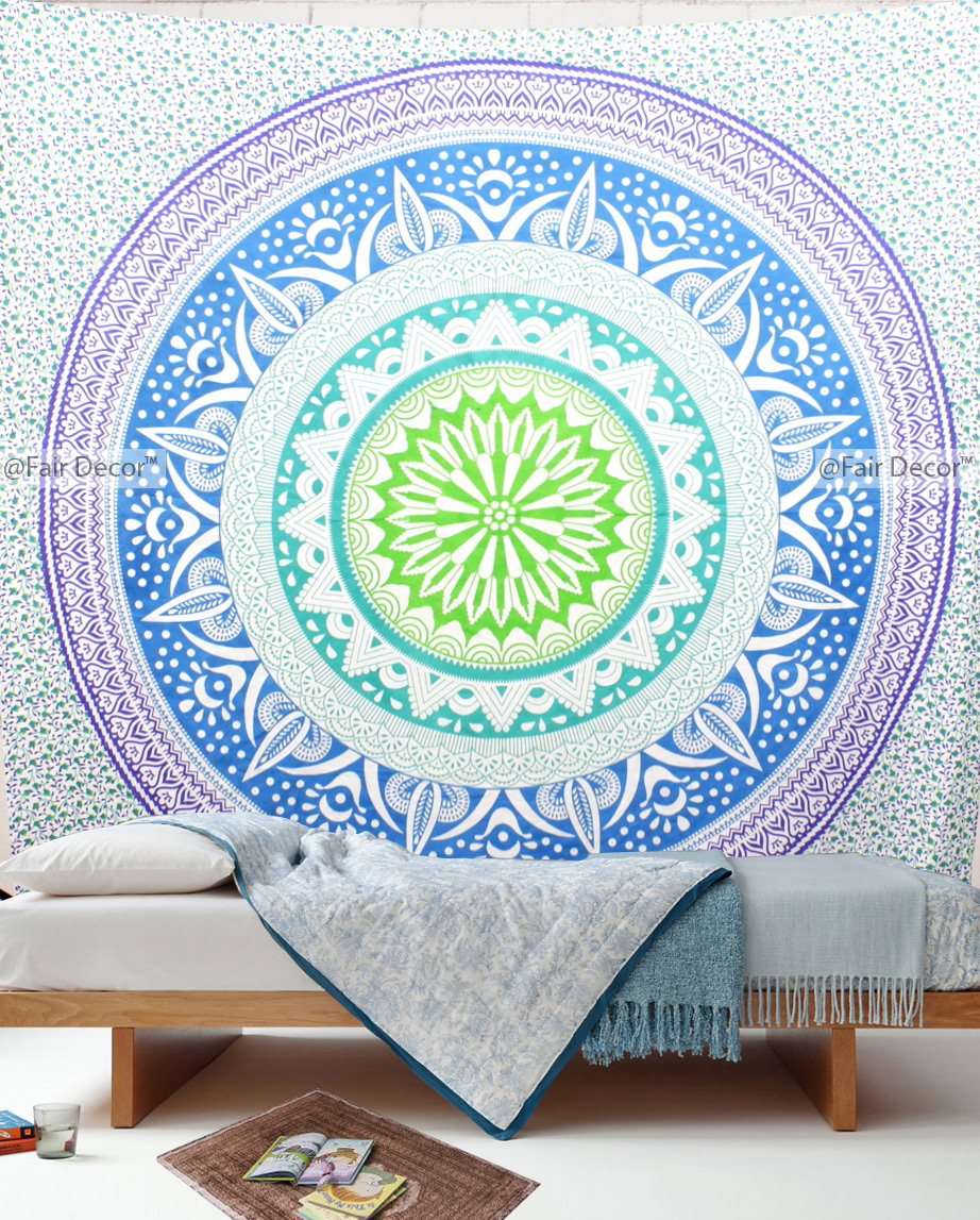 Green Blue Ombre Round Mandala Tapestry Throw Wall Hanging