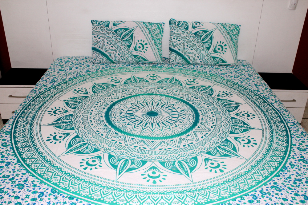 Green Ombre Bedding Sets Bed Sheet With Pillow