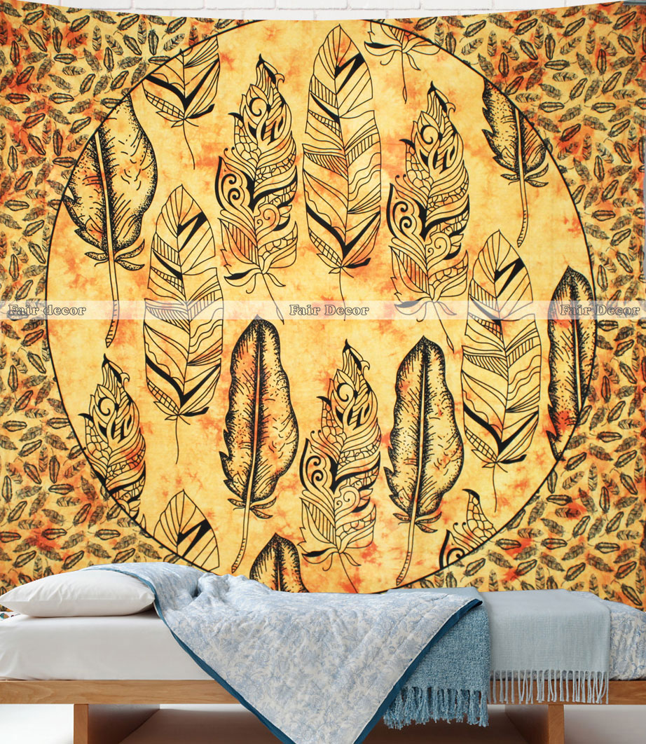 Yellow Tie Dye Feather Wall Hanging Tapestry