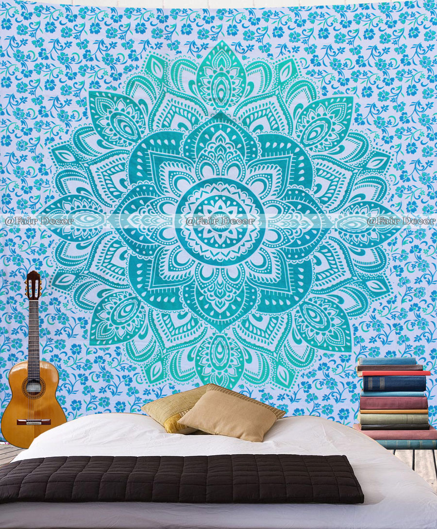 Wall Tapestry Home Decor : Green floral ombre mandala tapestry wall hanging home decor
