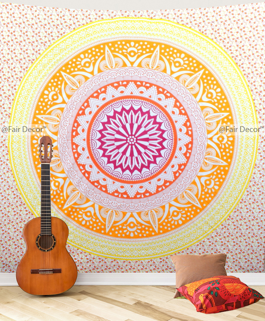Yellow orange Ombre Mandala Wall Tapestry