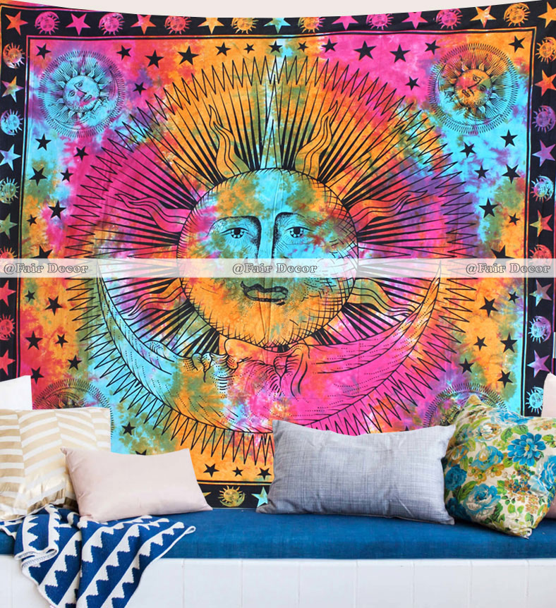 Queen Indian Tie Dye Star Mandala Tapestries Hippie Wall Hanging Tapestry Throw