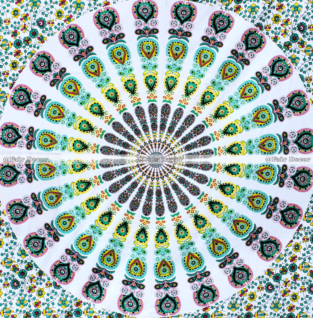 Twin Size Peacock Feather Hippie Mandala Wall Hanging