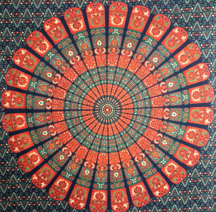 Orange Indian Block Print Tapestry Print Fabric Mandala
