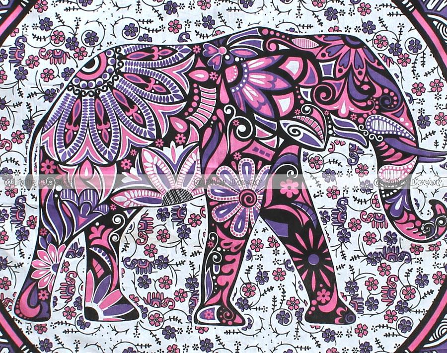 Elephant Mandala Tapestry Pink Purple Elephant Floral