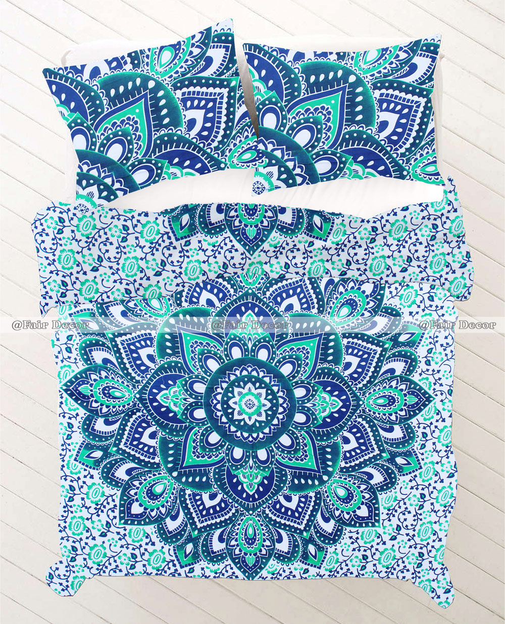 Twin Size Blue Green Ombre Mandala Bedding Sheet Quilt Cover
