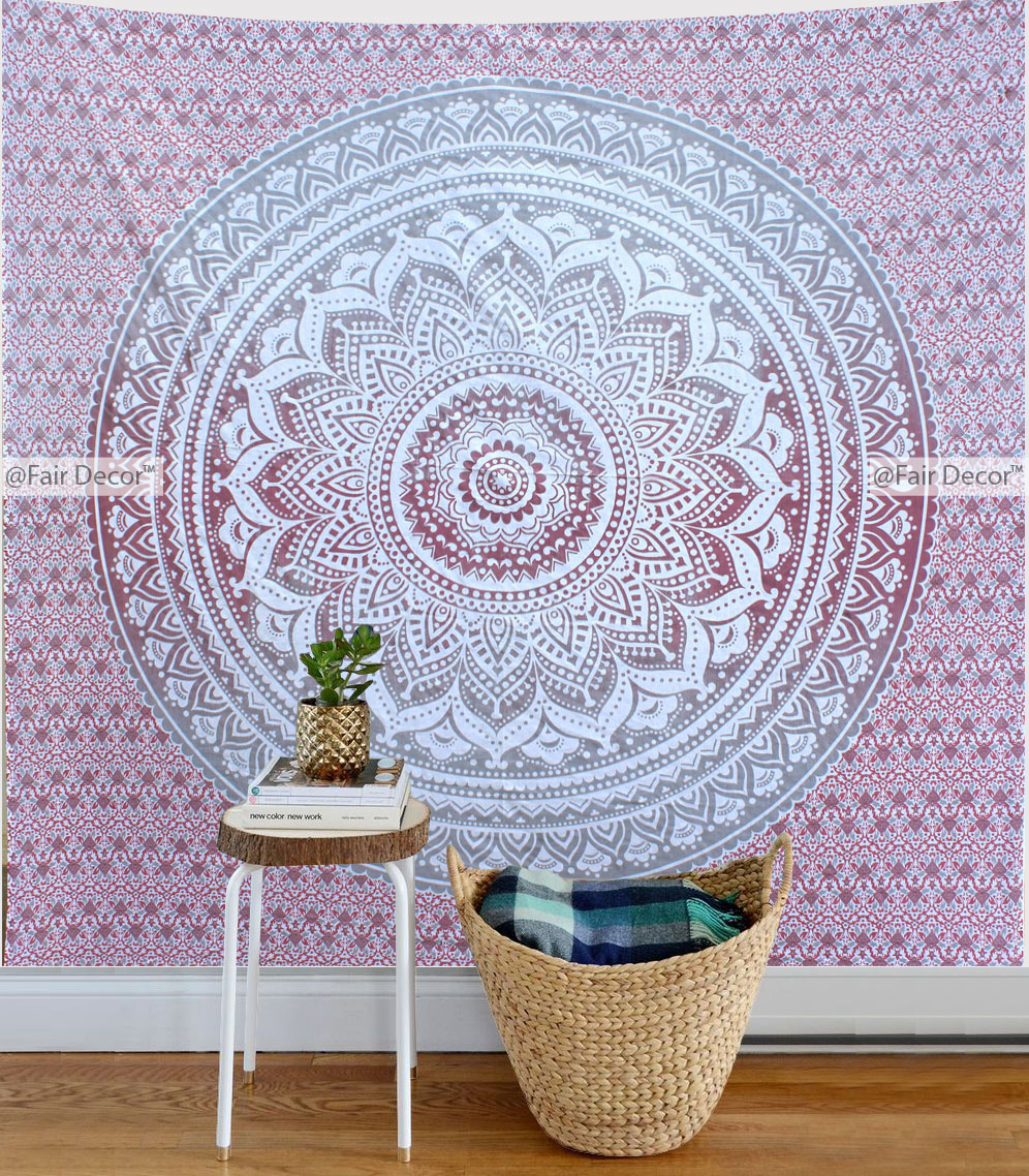 Pink Gray Ombre Tapestry Boho Wall Hanging Throw