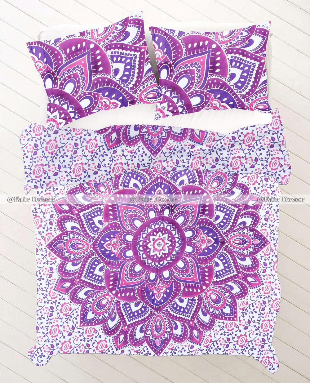 twin size pink purple flower ombre mandala bedding duvet cover. Black Bedroom Furniture Sets. Home Design Ideas