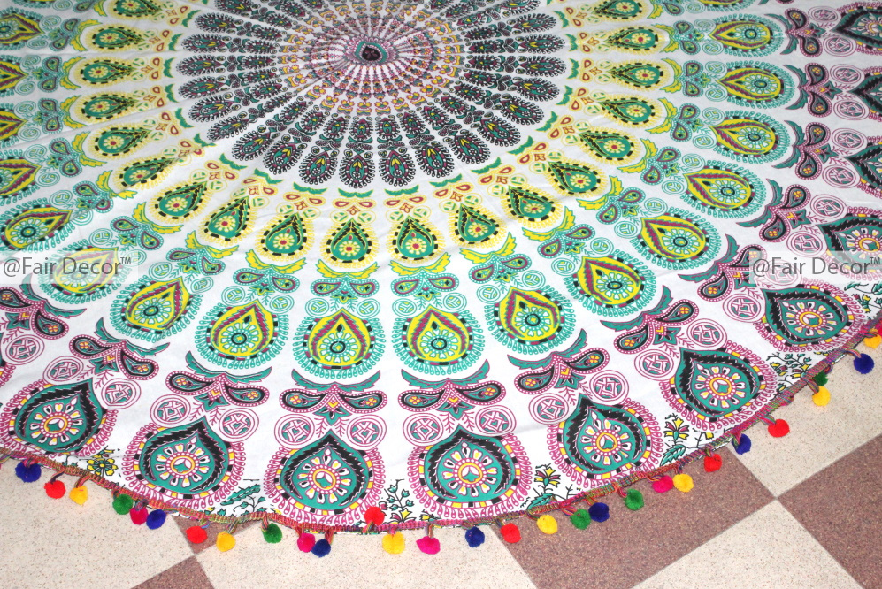 mat indian printed beach microfiber products lotus towel mats indianlotusmandala round decoration spo or blanket mandala bohemian yoga