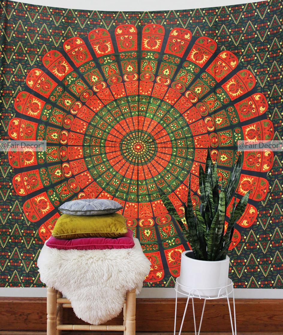 Orange Indian Block Print Tapestry Print Fabric Mandala