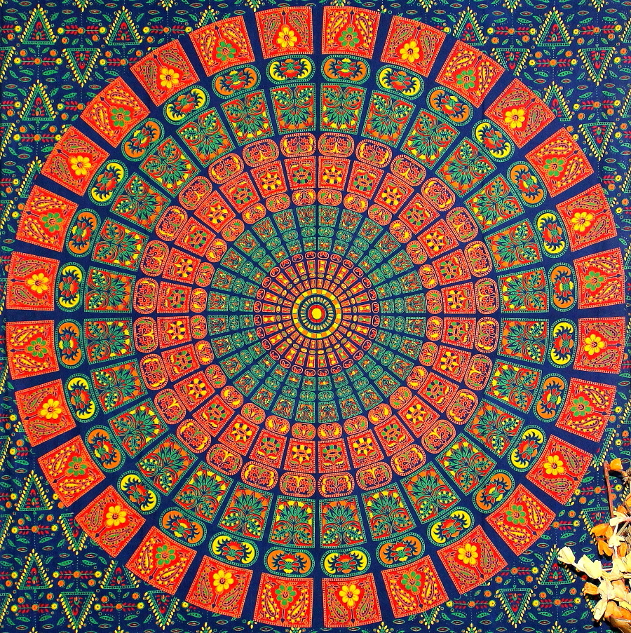 Triangle Tapestry Blue Orange Triangle Shaped Tapestry