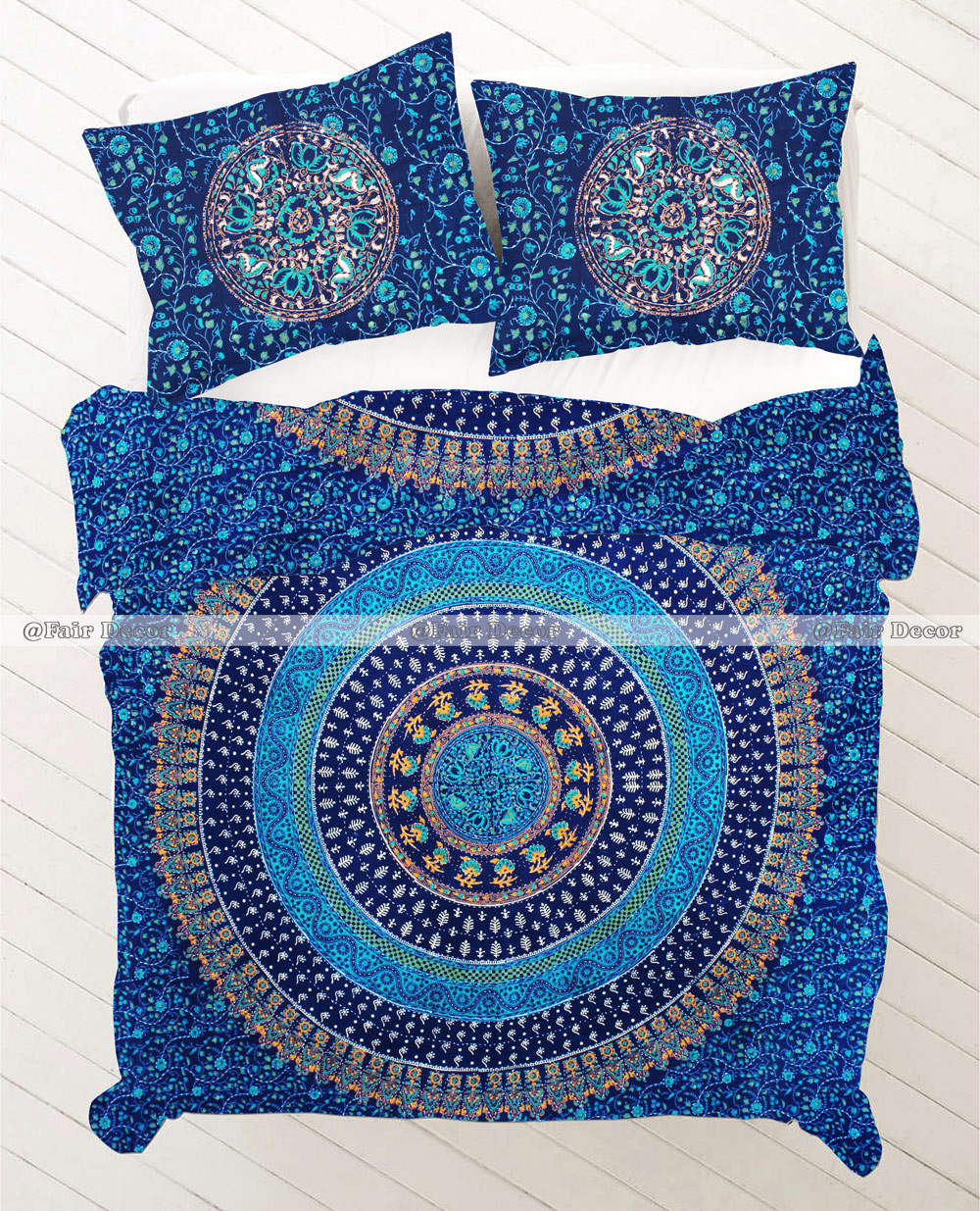 Multicolor block printed full size mandala bedding duvet cover set