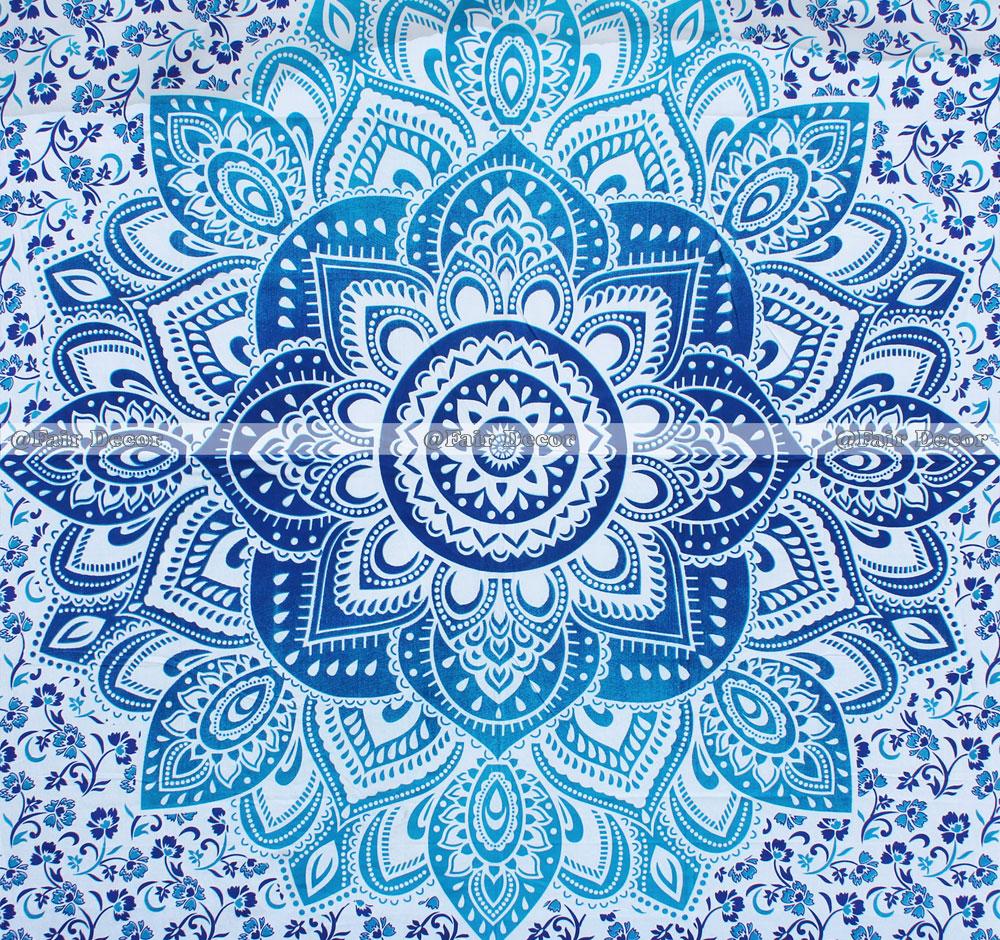 Queen Size Blue Flower Hippie Mandala Bed Sheet Set Quilt