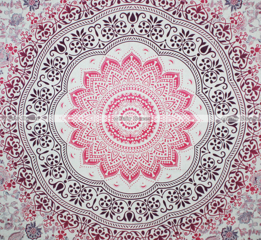 Queen Size Pink Purple Ombre Mandala Tapestry Wall Hanging