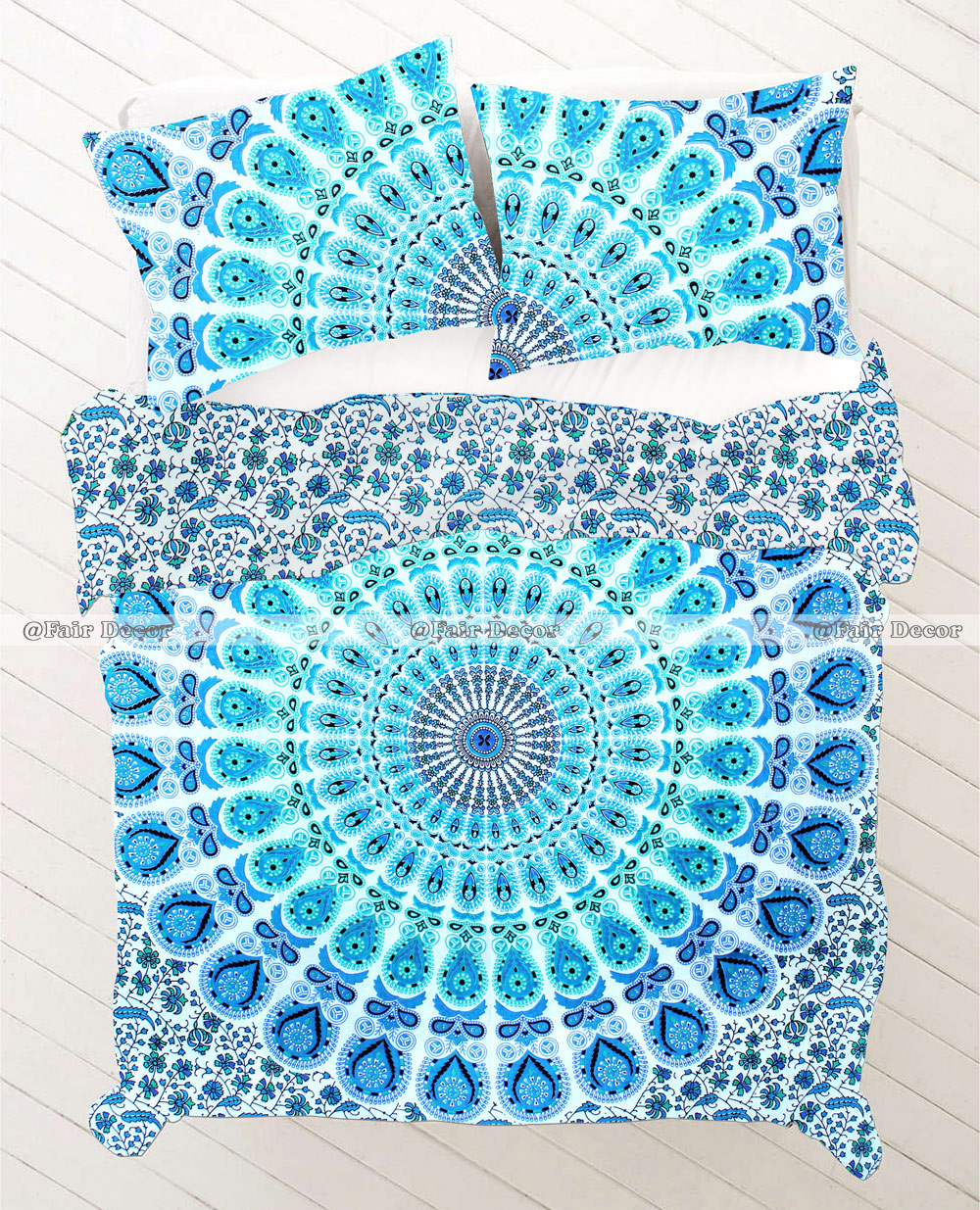 Blue Green Hippie Mandala Duvet Sets Quilt Cover