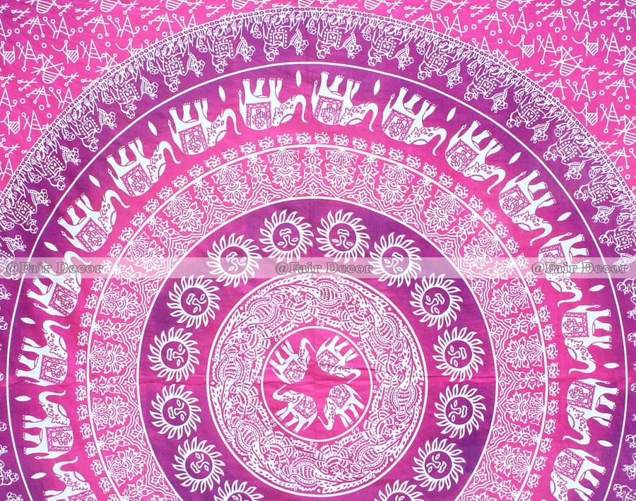Pink Purple Elephant Mandala Duvet Cover Doona Cover