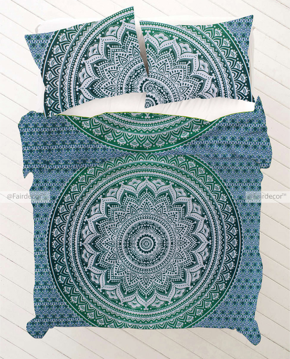 Dark Green Ombre Bedding Set And Pillow Covers