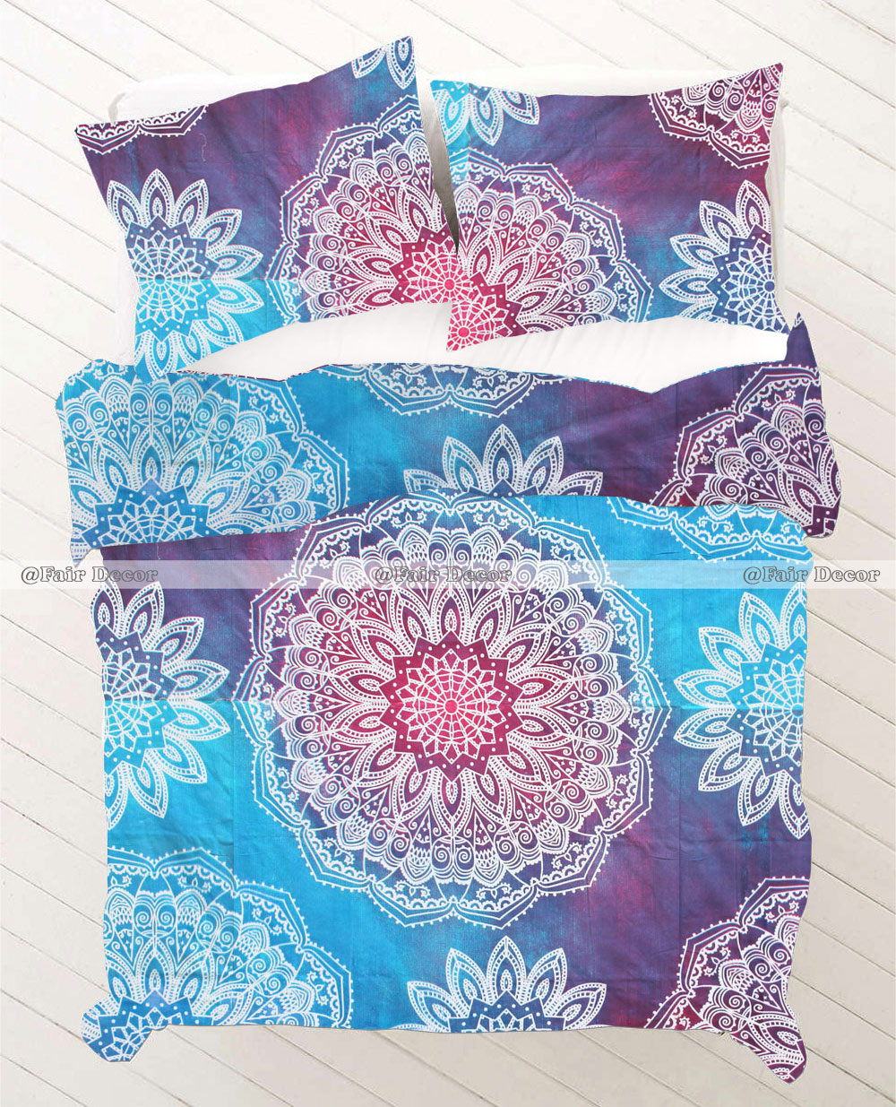 Sky Blue And Purple Floral Bohemian Bedding Duvet Cover Set