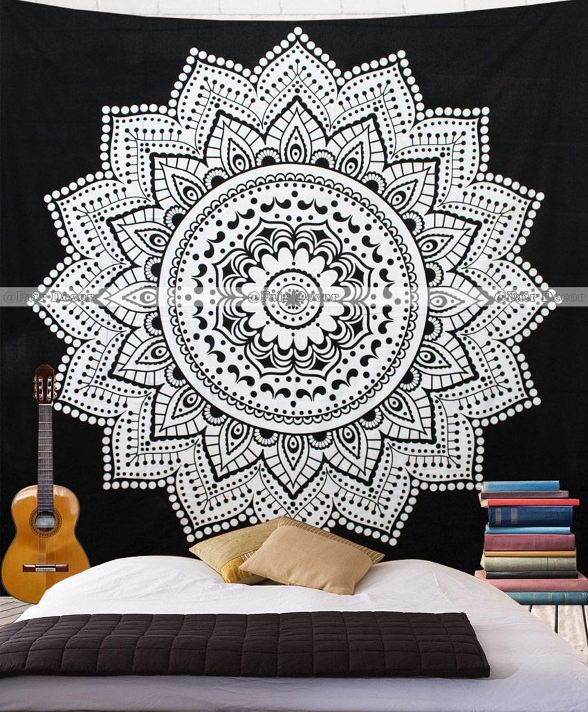 Black And White Lotus Floral Wall Hanging Mandala Tapestry