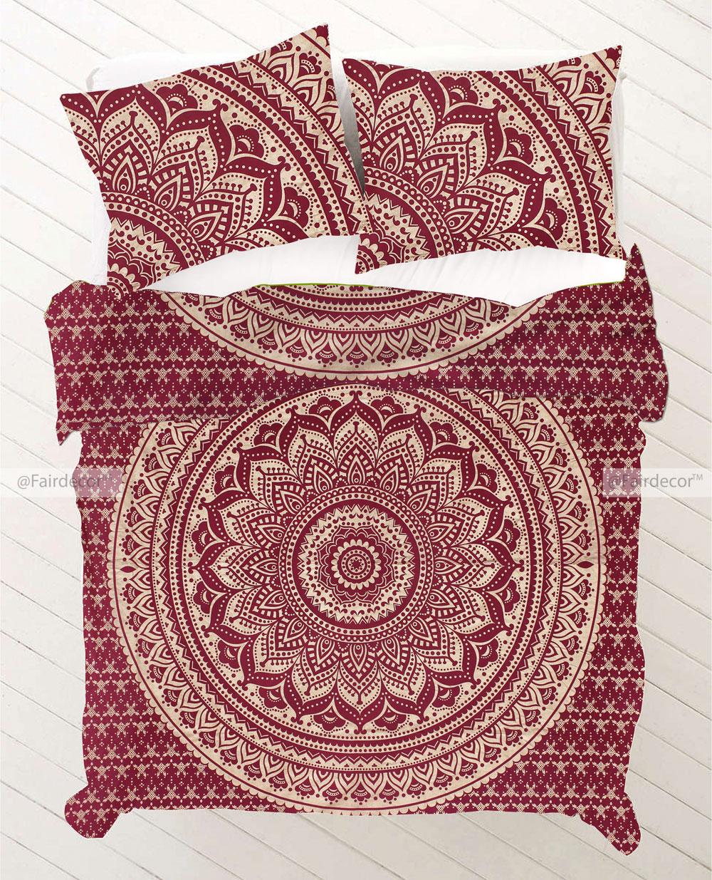 Maroon Gold Mandala Bedding Queen Duvet Cover