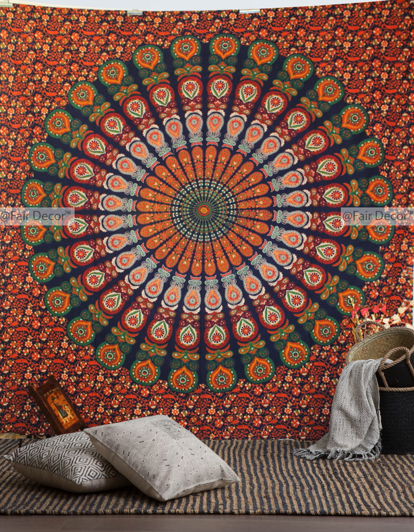 wall indian bohemian products multi jaipur large ethnic color handloom inches mandala dorm decorative psychedelic hanging room decor blue hippie tapestries tapestry hippy medallion jaipurhandloom