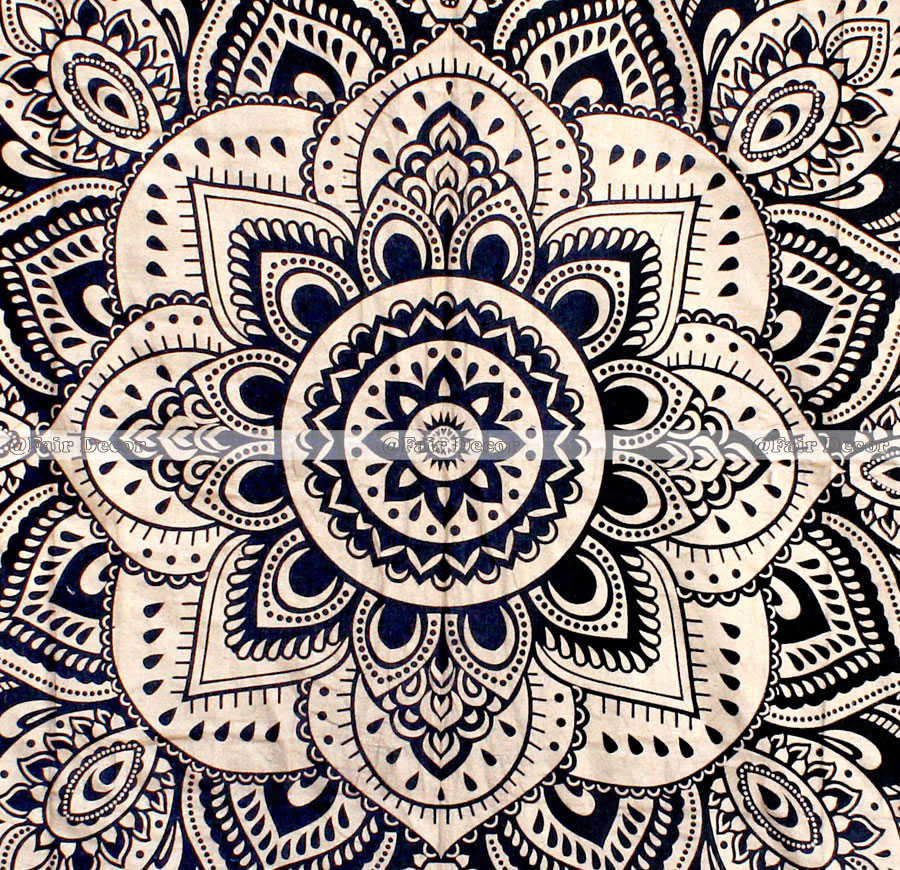 Black Gold Mandala Throw Wall Indian Tapestry Bohemian