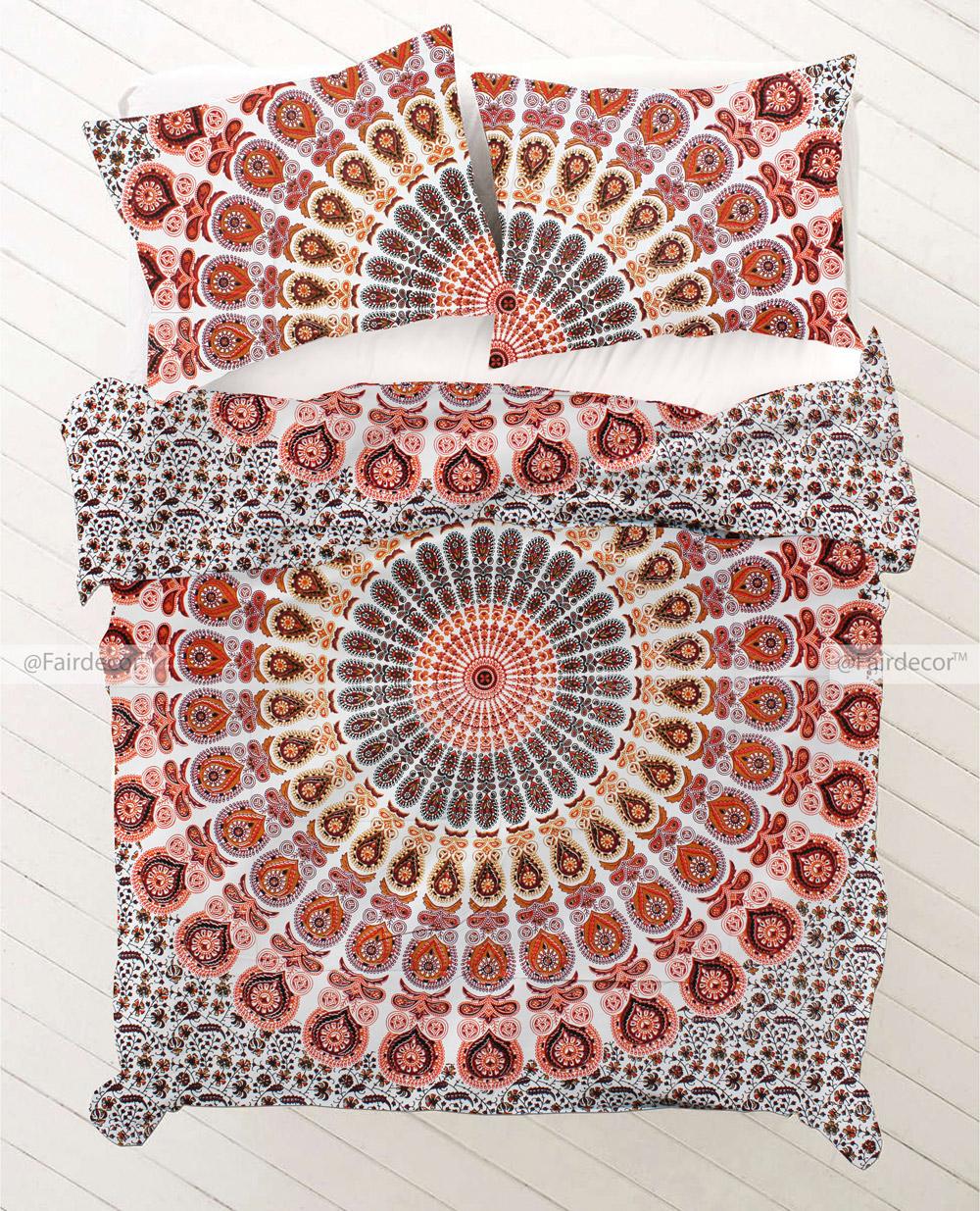 Pink Orange Mandala Bed Throw Bohemian Bedding Set