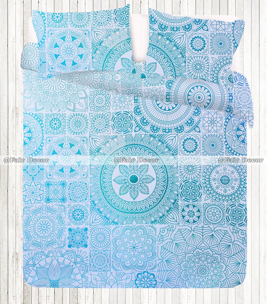 Light Blue Hippie Mandala Boho Bed Sheet With Matching Pillowcases