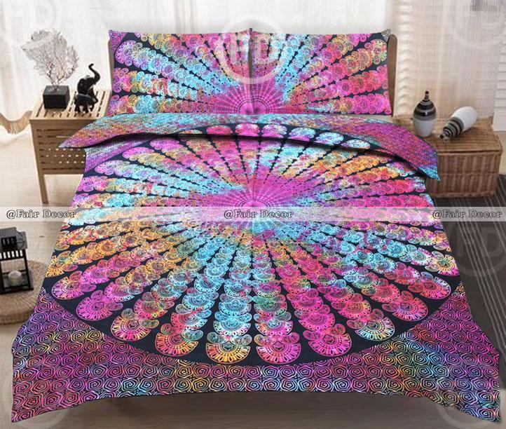 Mandala Queen Size Multi Color Bed Sheet Cover Bedspread Cotton Bedding Set