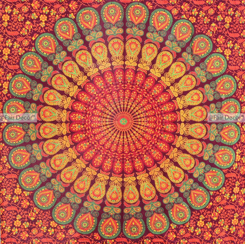Orange Green Hippie Mandala Throw Blanket