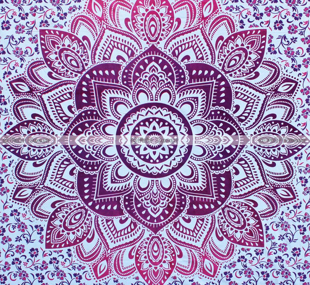 Pink Purple Flower Hippie Mandala Tapestry