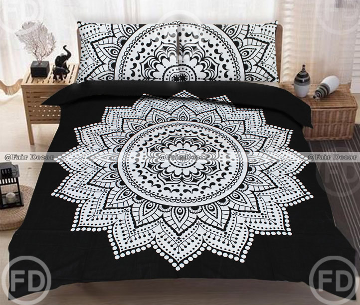 Black And White Lotus Floral Queen Size Bohemian Mandala Bed Sheet With  Matching Pillowcases