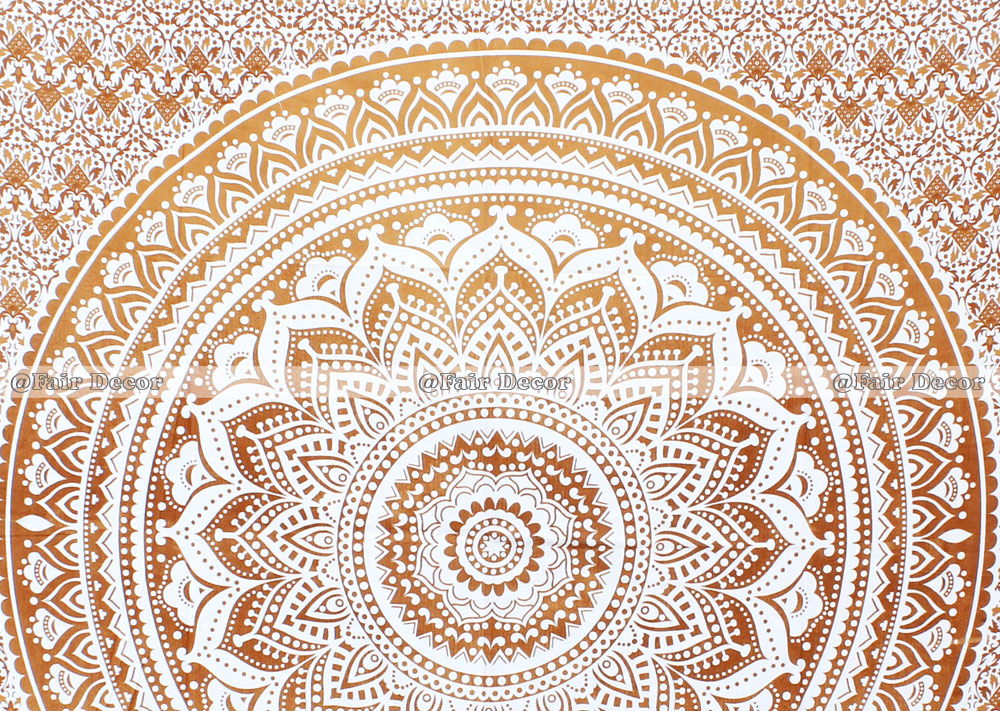 Gold Floral Ombre Mandala Tapestry Wall Hanging
