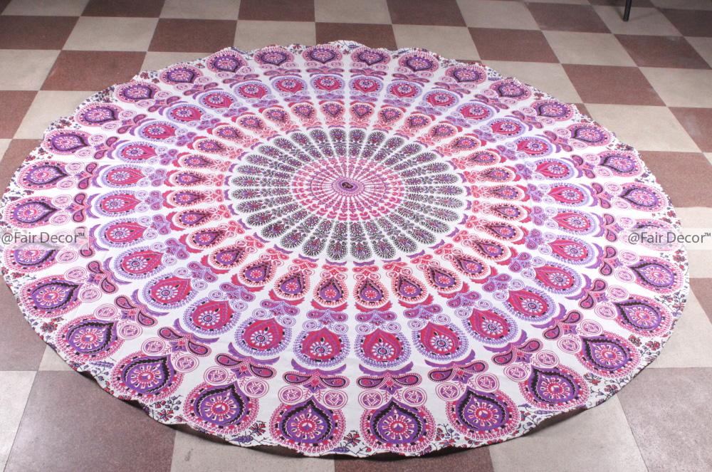 Pink Purple Round Beach Throw Pink Purple Picnic Sheet