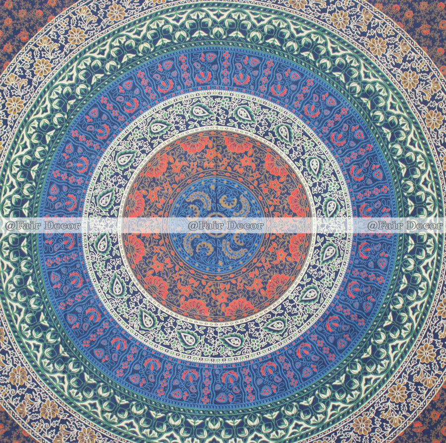 Multi Flower Hippie Mandala Wall Hanging Tapestry