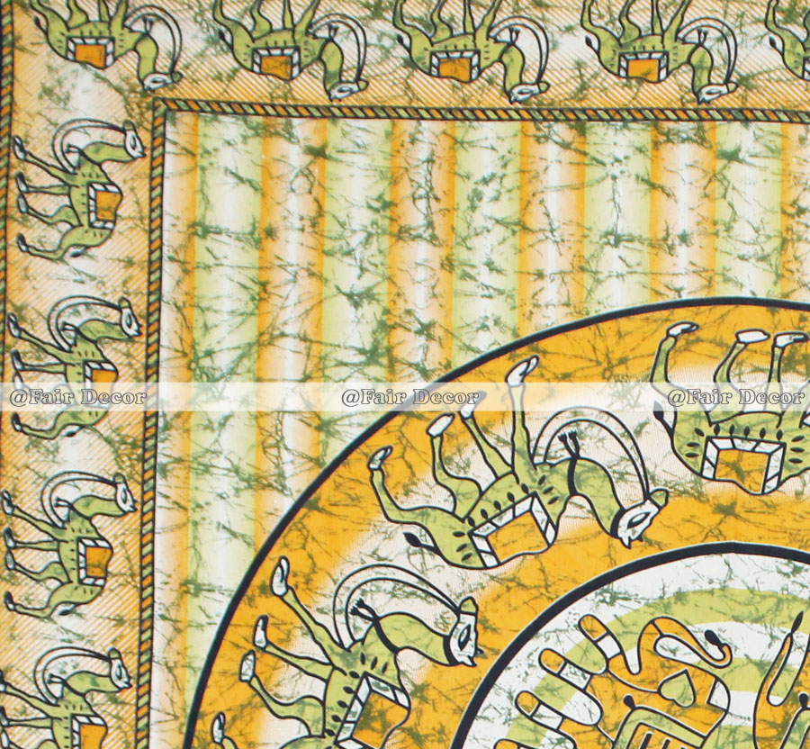 Green Yellow Camel Elephant Mandala Bed Sheet With