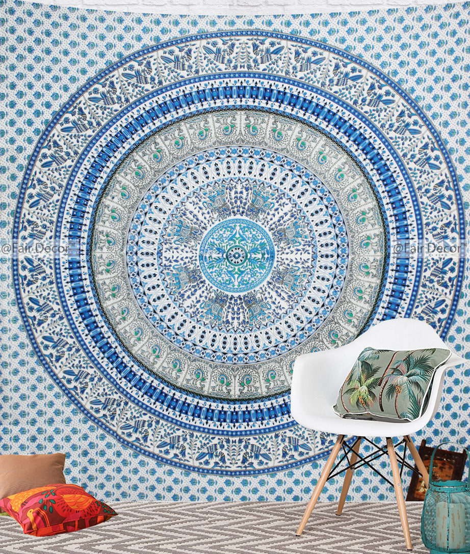 throw meddalion medallion hippie meddallion tapestry blue boho hanging decor wall product mandala