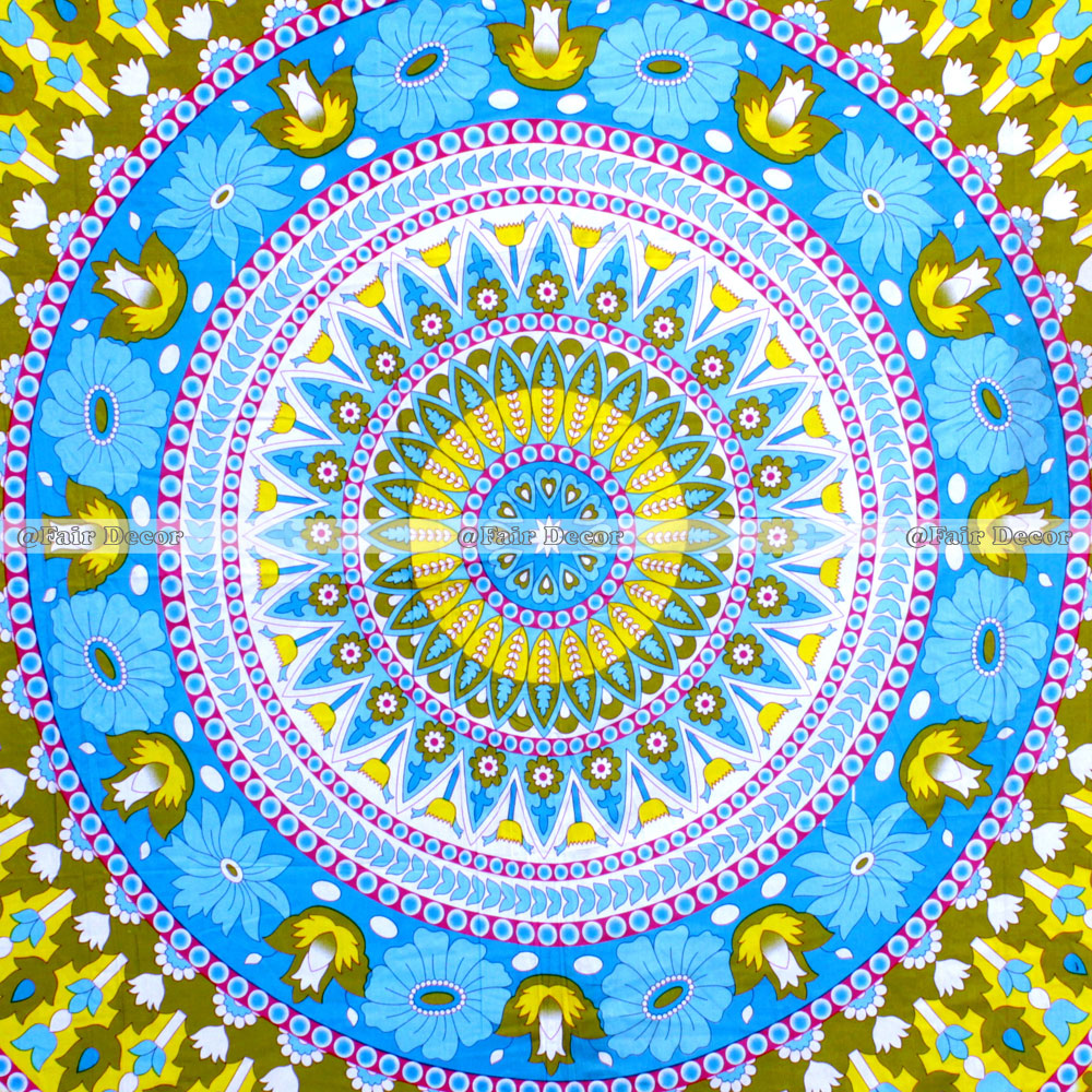 Sky Blue And Yellow Floral Queen Mandala Tapestry Wall Hanging